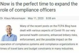 NOW IS THE PERFECT TIME TO EXPAND THE ROLE OF COMPLIANCE OFFICERS
